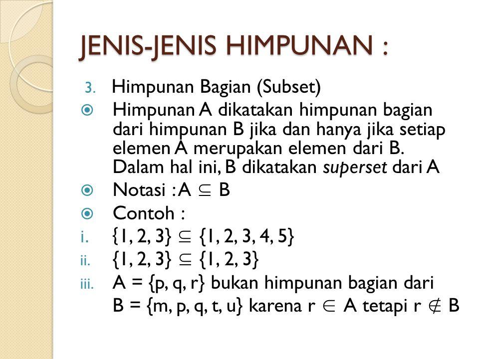JENIS-JENIS HIMPUNAN : 4.