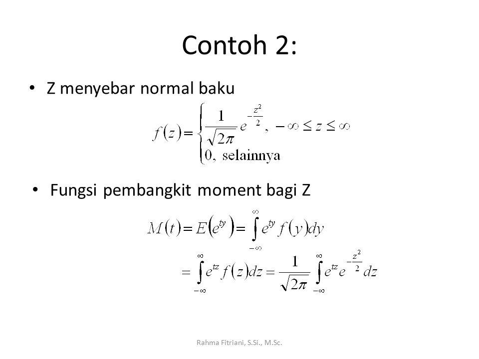 Contoh 2: Z menyebar normal baku Rahma Fitriani, S.Si., M.Sc. Fungsi pembangkit moment bagi Z