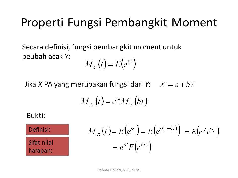 Properti Fungsi Pembangkit Moment Rahma Fitriani, S.Si., M.Sc. Secara definisi, fungsi pembangkit moment untuk peubah acak Y: Jika X PA yang merupakan