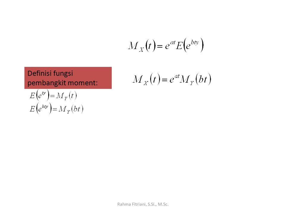 Rahma Fitriani, S.Si., M.Sc. Definisi fungsi pembangkit moment: