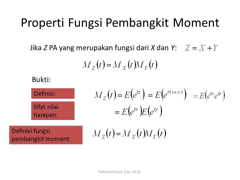 Properti Fungsi Pembangkit Moment Rahma Fitriani, S.Si., M.Sc. Jika Z PA yang merupakan fungsi dari X dan Y: Bukti: Definisi: Sifat nilai harapan: Def