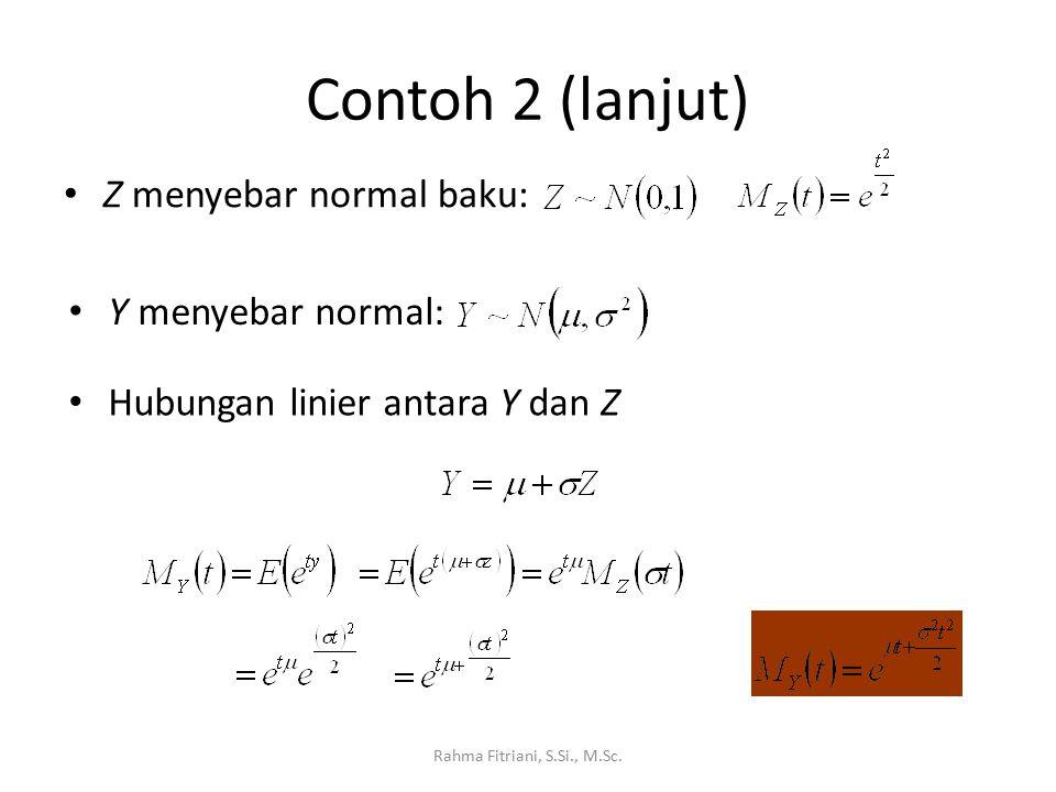 Contoh 2 (lanjut) Rahma Fitriani, S.Si., M.Sc. Z menyebar normal baku: Y menyebar normal: Hubungan linier antara Y dan Z