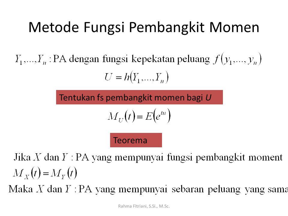 Metode Fungsi Pembangkit Momen Rahma Fitriani, S.Si., M.Sc. Tentukan fs pembangkit momen bagi U Teorema