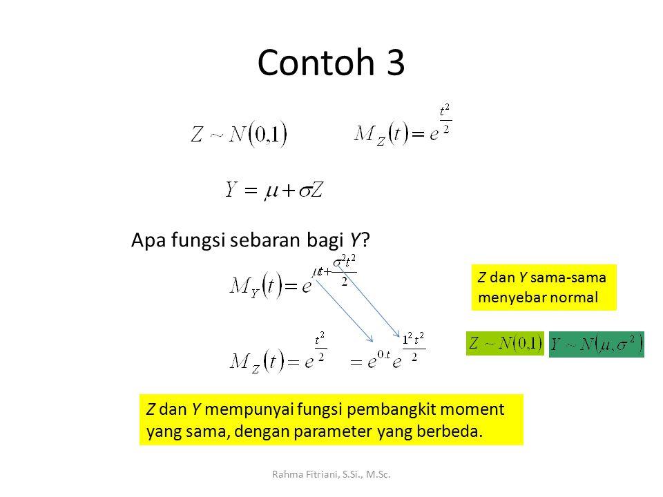 Contoh 3 Rahma Fitriani, S.Si., M.Sc. Apa fungsi sebaran bagi Y? Z dan Y mempunyai fungsi pembangkit moment yang sama, dengan parameter yang berbeda.
