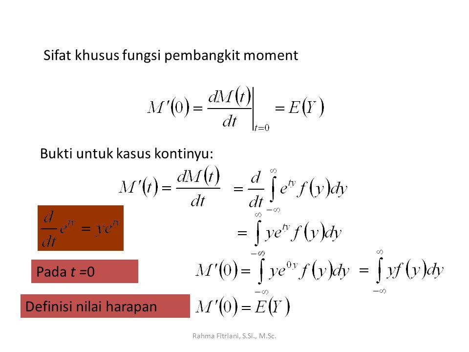 Sifat khusus fungsi pembangkit moment Bukti untuk kasus kontinyu: Pada t =0 Definisi nilai harapan
