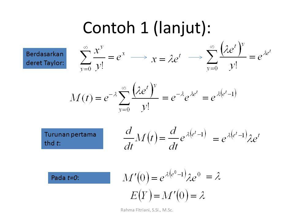 Contoh 1 (lanjut): Rahma Fitriani, S.Si., M.Sc. Berdasarkan deret Taylor: Turunan pertama thd t: Pada t=0:
