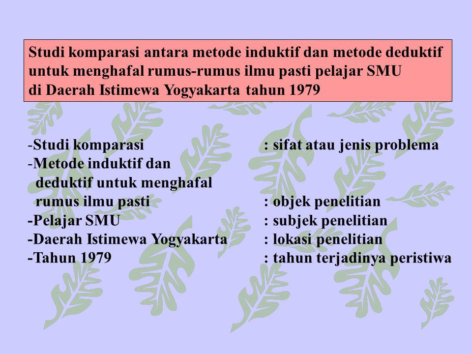 Studi komparasi antara metode induktif dan metode deduktif untuk menghafal rumus-rumus ilmu pasti pelajar SMU di Daerah Istimewa Yogyakarta tahun 1979