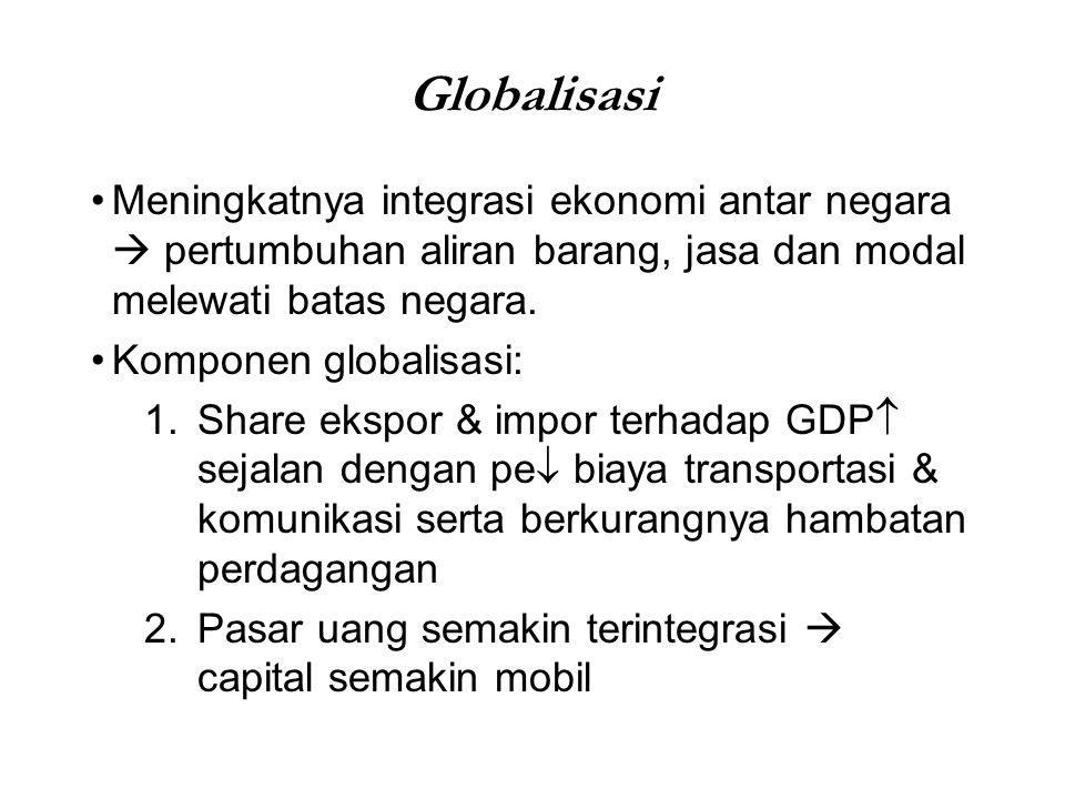 Globalisasi Meningkatnya integrasi ekonomi antar negara  pertumbuhan aliran barang, jasa dan modal melewati batas negara.