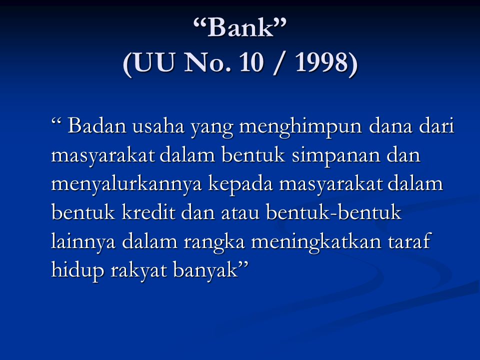 Bank (UU No.