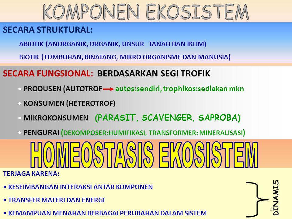 SECARA STRUKTURAL: ABIOTIK (ANORGANIK, ORGANIK, UNSUR TANAH DAN IKLIM) BIOTIK (TUMBUHAN, BINATANG, MIKRO ORGANISME DAN MANUSIA) SECARA FUNGSIONAL: BER