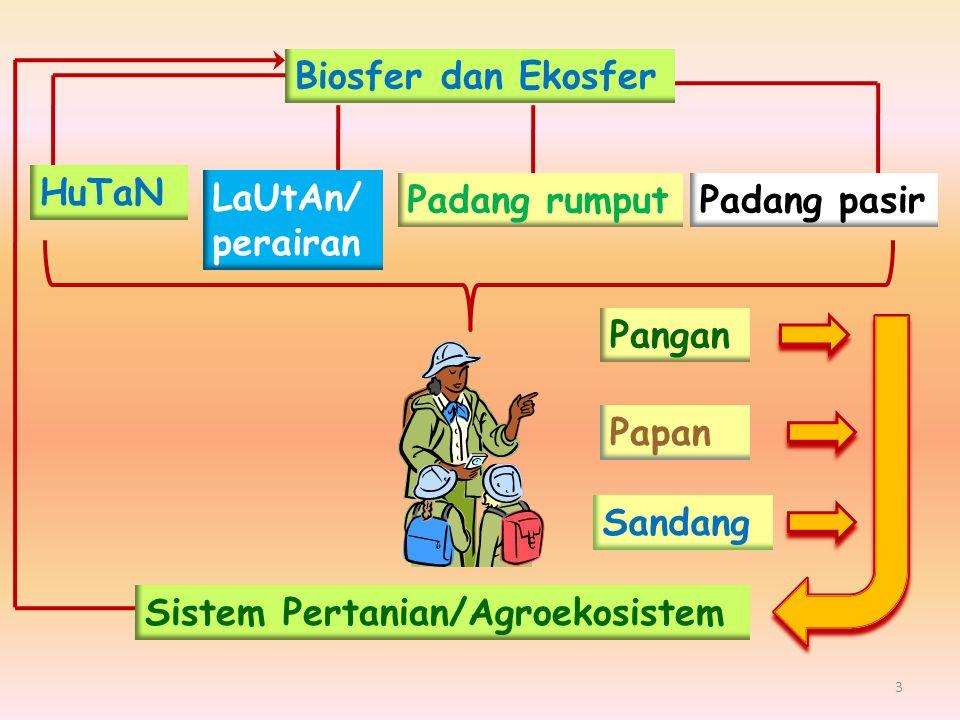 Biosfer dan Ekosfer HuTaN LaUtAn/ perairan Padang pasirPadang rumput Pangan Sandang Papan Sistem Pertanian/Agroekosistem 3