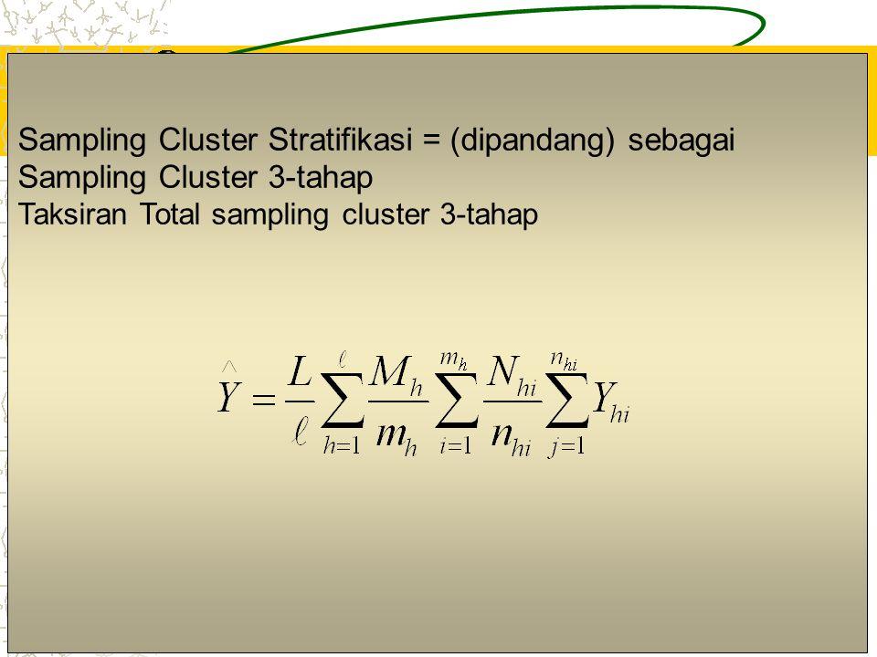 4 Sampling Cluster Stratifikasi = (dipandang) sebagai Sampling Cluster 3-tahap Taksiran Total sampling cluster 3-tahap