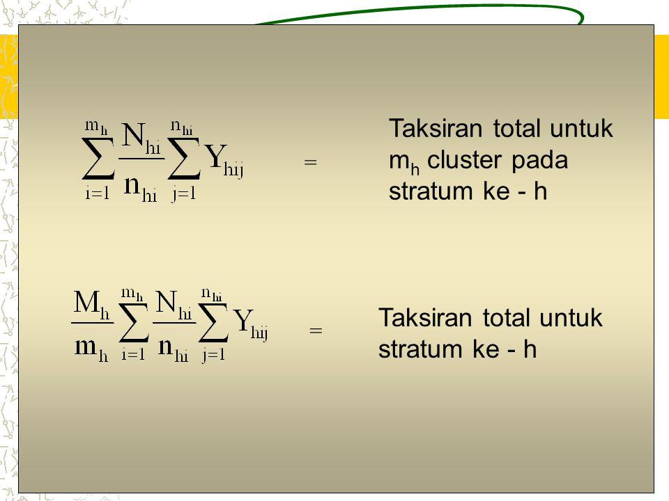 7 Taksiran total untuk stratum ke - h = Taksiran total untuk m h cluster pada stratum ke - h =