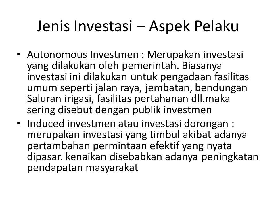 Jenis Investasi – Aspek Pelaku Autonomous Investmen : Merupakan investasi yang dilakukan oleh pemerintah. Biasanya investasi ini dilakukan untuk penga