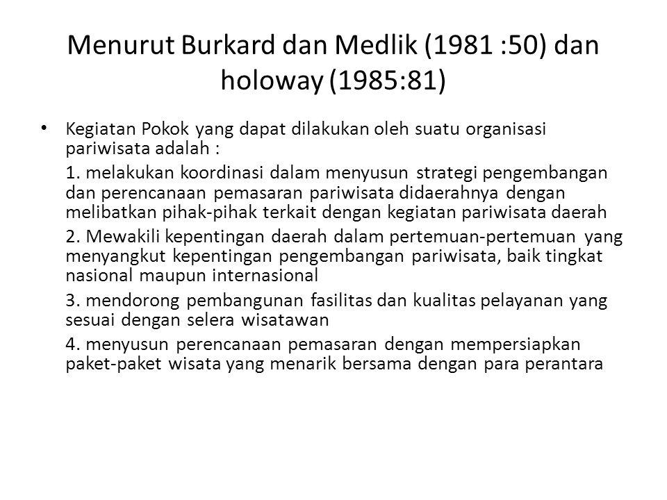 Menurut Burkard dan Medlik (1981 :50) dan holoway (1985:81) Kegiatan Pokok yang dapat dilakukan oleh suatu organisasi pariwisata adalah : 1. melakukan