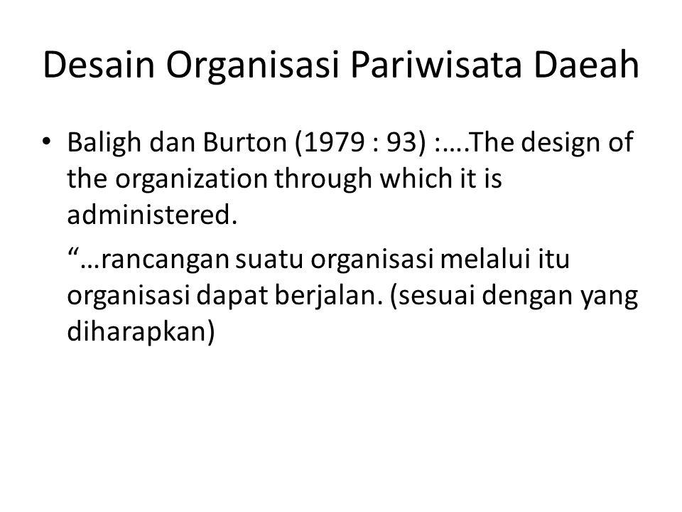 "Desain Organisasi Pariwisata Daeah Baligh dan Burton (1979 : 93) :….The design of the organization through which it is administered. ""…rancangan suatu"