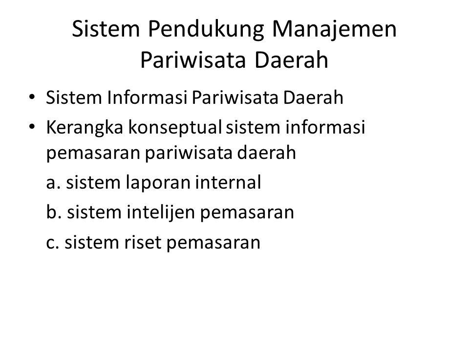 Sistem Pendukung Manajemen Pariwisata Daerah Sistem Informasi Pariwisata Daerah Kerangka konseptual sistem informasi pemasaran pariwisata daerah a. si