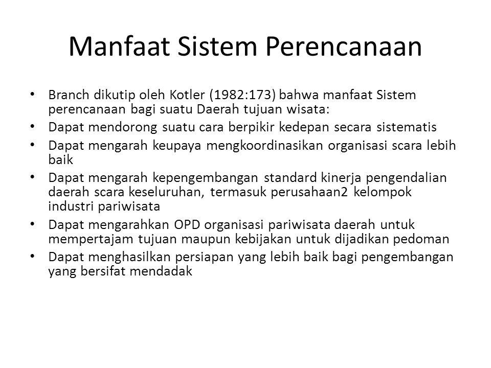 Manfaat Sistem Perencanaan Branch dikutip oleh Kotler (1982:173) bahwa manfaat Sistem perencanaan bagi suatu Daerah tujuan wisata: Dapat mendorong sua
