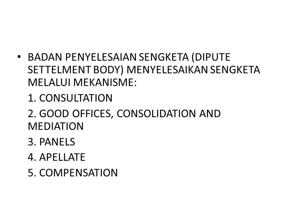 BADAN PENYELESAIAN SENGKETA (DIPUTE SETTELMENT BODY) MENYELESAIKAN SENGKETA MELALUI MEKANISME: 1. CONSULTATION 2. GOOD OFFICES, CONSOLIDATION AND MEDI