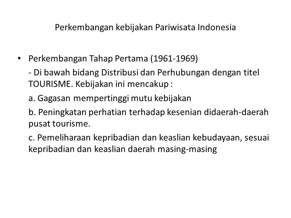 Perkembangan kebijakan Pariwisata Indonesia Perkembangan Tahap Pertama (1961-1969) - Di bawah bidang Distribusi dan Perhubungan dengan titel TOURISME.