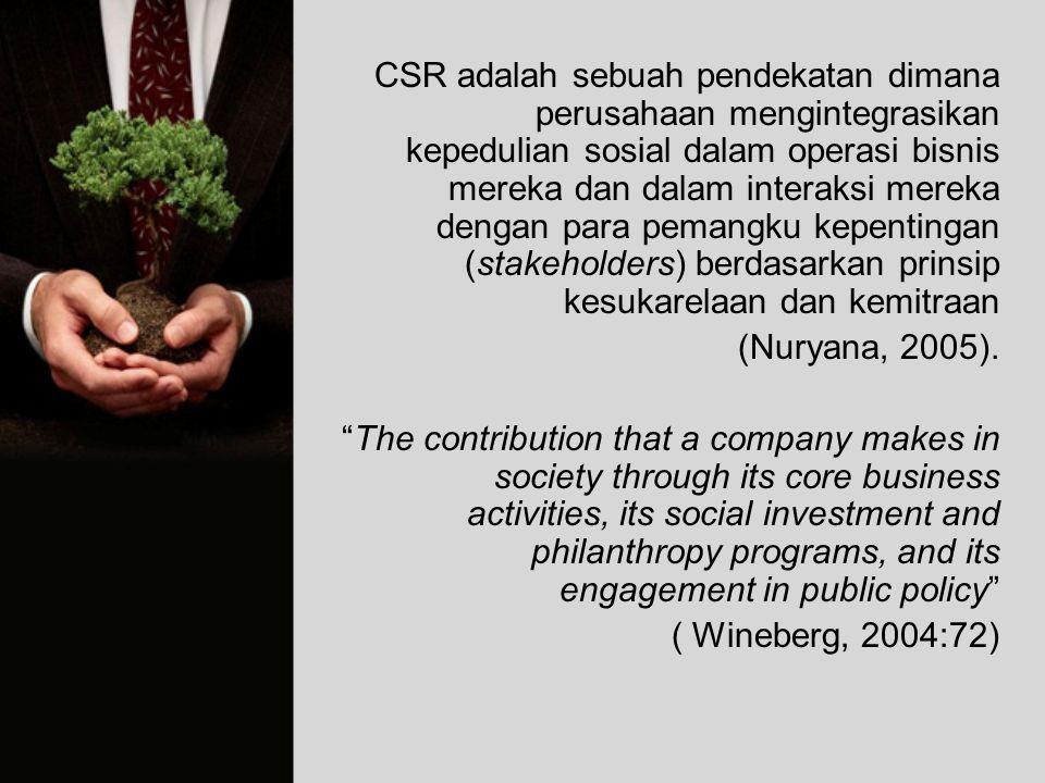 CSR adalah sebuah pendekatan dimana perusahaan mengintegrasikan kepedulian sosial dalam operasi bisnis mereka dan dalam interaksi mereka dengan para p