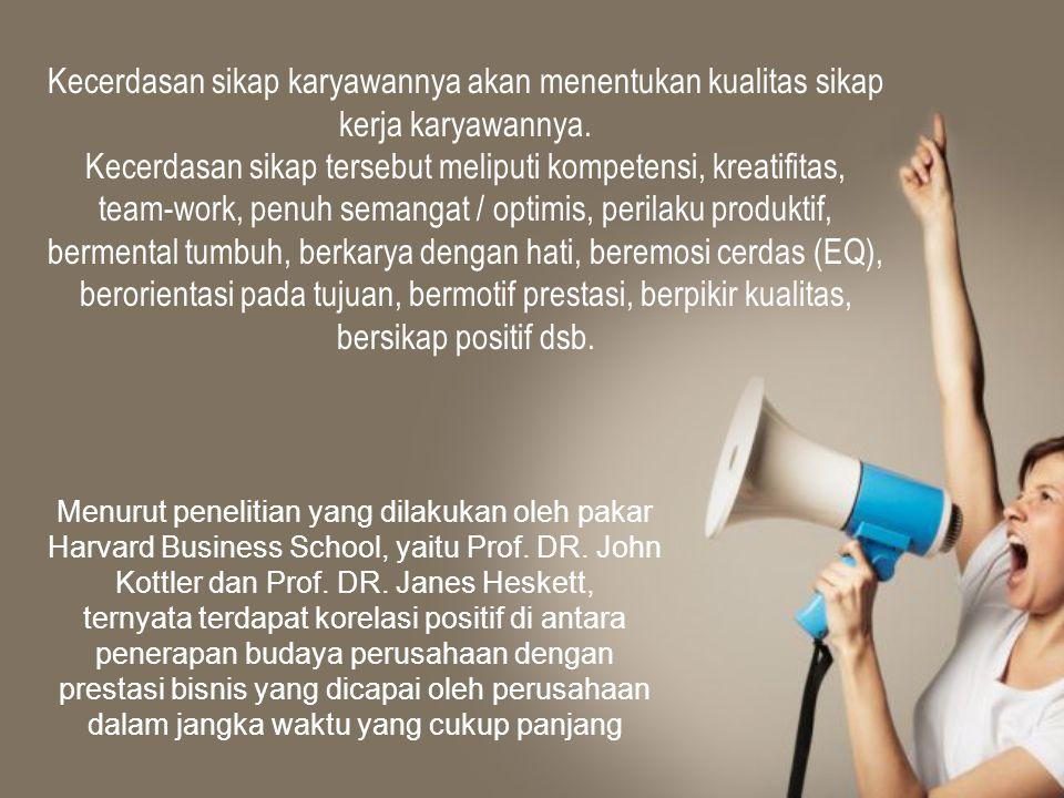 Kecerdasan sikap karyawannya akan menentukan kualitas sikap kerja karyawannya. Kecerdasan sikap tersebut meliputi kompetensi, kreatifitas, team-work,