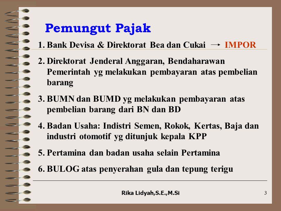 Rika Lidyah,S.E.,M.Si14 Jawaban Soal PPh pasal 22 Bendaharawan A.Jika barang tersebut tidak termasuk PPN maupun PPn BM:  Rp21.450 B.Jika barang tersebut mengandung unsur PPN 10%:  Rp19.500 C.Jika barang tersebut mengandung unsur PPN 10% dan PPn BM 20%:  Rp16.500