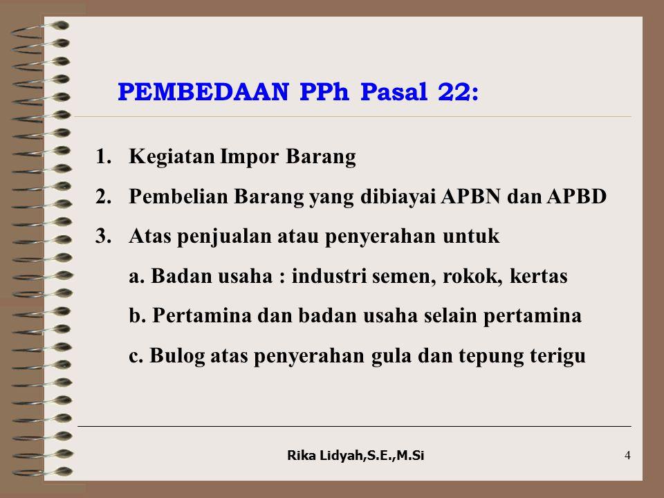 Rika Lidyah,S.E.,M.Si4 PEMBEDAAN PPh Pasal 22: 1.Kegiatan Impor Barang 2.Pembelian Barang yang dibiayai APBN dan APBD 3.Atas penjualan atau penyerahan