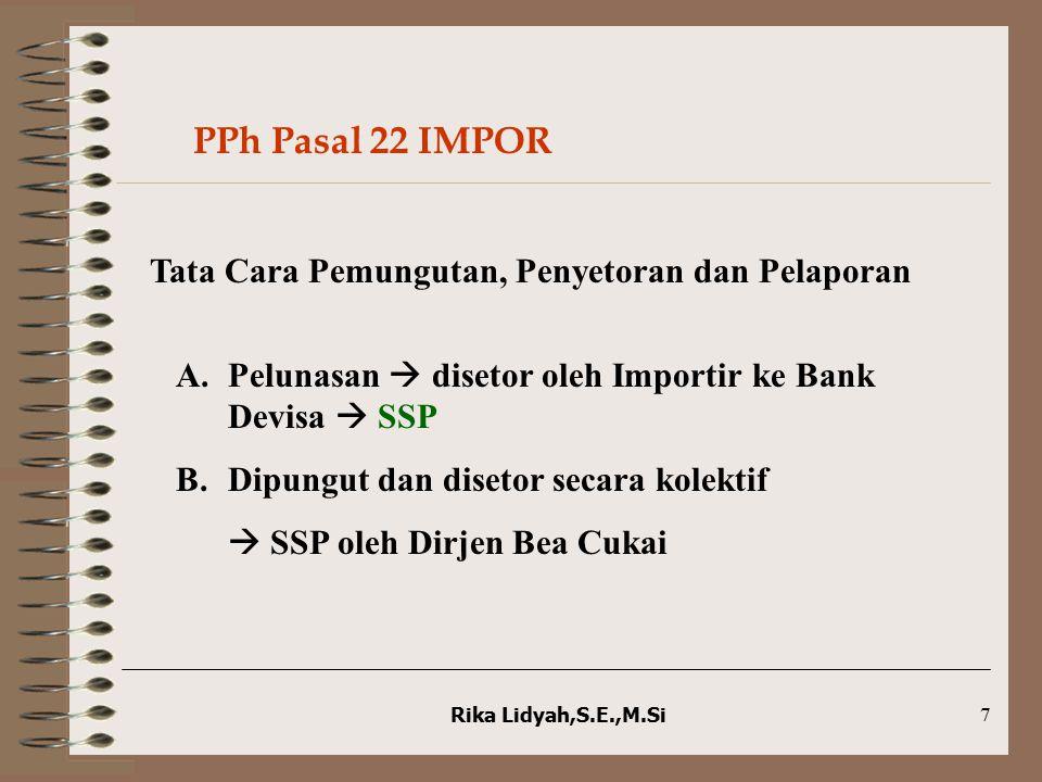 Rika Lidyah,S.E.,M.Si7 Tata Cara Pemungutan, Penyetoran dan Pelaporan A.Pelunasan  disetor oleh Importir ke Bank Devisa  SSP B.Dipungut dan disetor