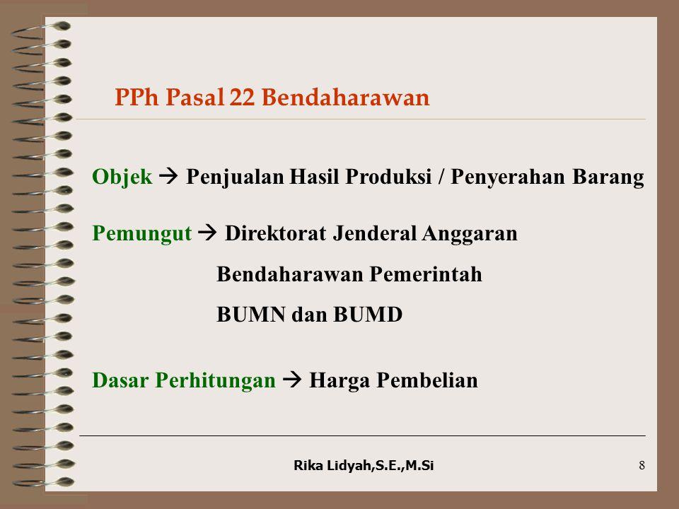 Rika Lidyah,S.E.,M.Si8 PPh Pasal 22 Bendaharawan Objek  Penjualan Hasil Produksi / Penyerahan Barang Pemungut  Direktorat Jenderal Anggaran Bendahar