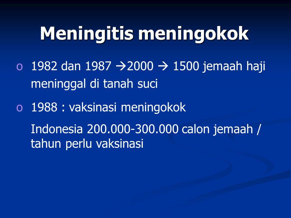 Meningitis meningokok o1982 dan 1987  2000  1500 jemaah haji meninggal di tanah suci o1988 : vaksinasi meningokok Indonesia 200.000-300.000 calon jemaah / tahun perlu vaksinasi