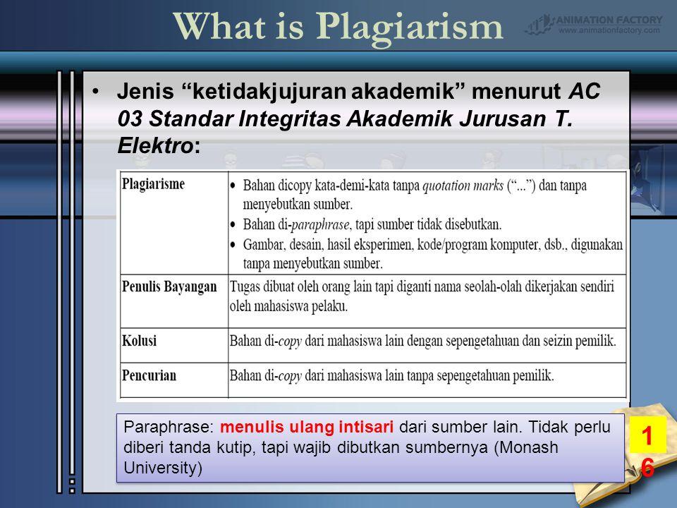 What is Plagiarism Jenis ketidakjujuran akademik menurut AC 03 Standar Integritas Akademik Jurusan T.