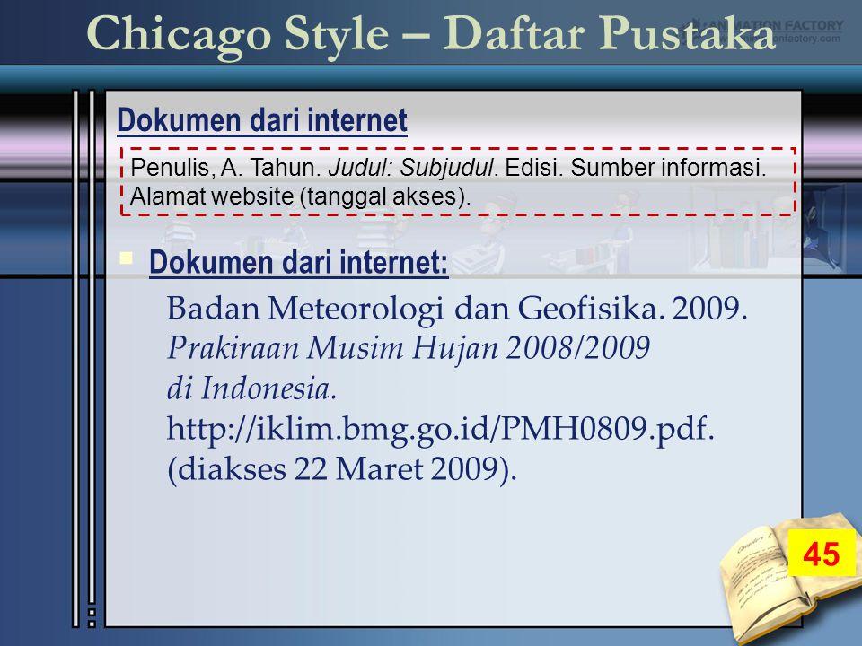 Chicago Style – Daftar Pustaka Dokumen dari internet 45 Penulis, A.