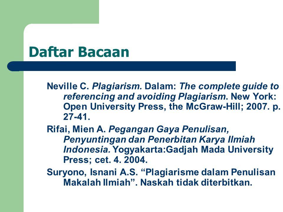 Daftar Bacaan Neville C.Plagiarism.