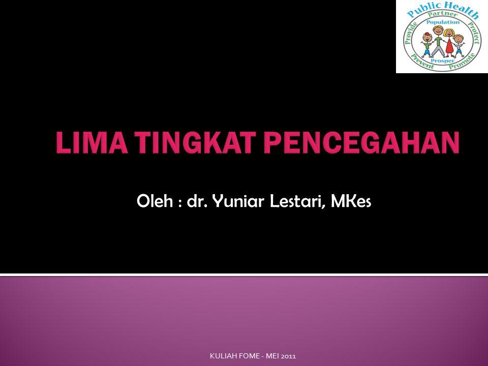 Oleh : dr. Yuniar Lestari, MKes KULIAH FOME - MEI 2011