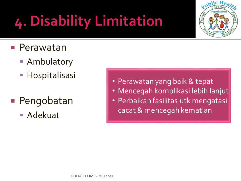 Perawatan  Ambulatory  Hospitalisasi  Pengobatan  Adekuat KULIAH FOME - MEI 2011 Perawatan yang baik & tepat Mencegah komplikasi lebih lanjut Pe