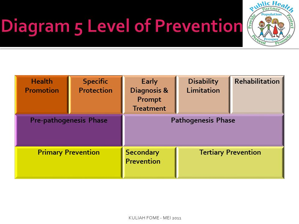 Health Promotion Specific Protection Early Diagnosis & Prompt Treatment Disability Limitation Rehabilitation Pre-pathogenesis PhasePathogenesis Phase