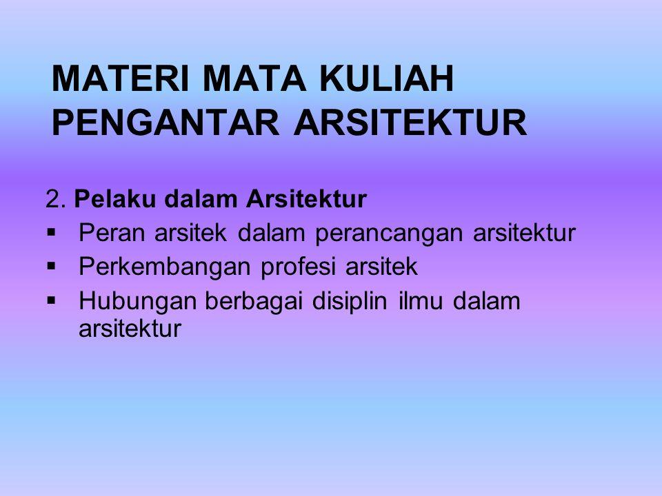 MATERI MATA KULIAH PENGANTAR ARSITEKTUR 2.