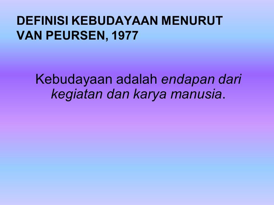 DEFINISI KEBUDAYAAN MENURUT VAN PEURSEN, 1977 Kebudayaan adalah endapan dari kegiatan dan karya manusia.