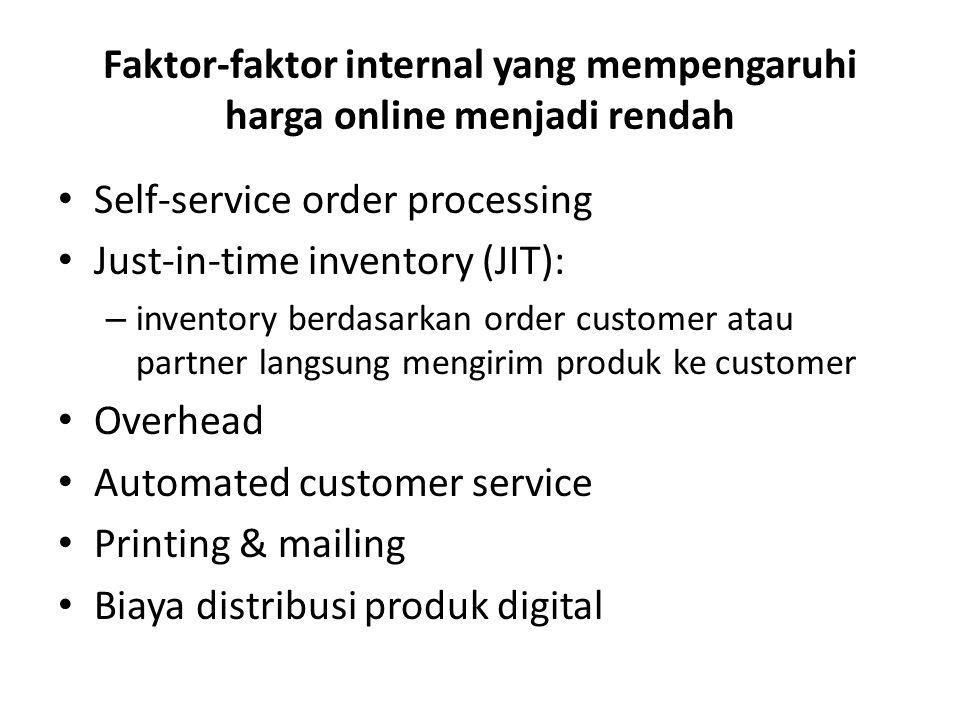 Faktor-faktor internal yang mempengaruhi harga online menjadi rendah Self-service order processing Just-in-time inventory (JIT): – inventory berdasark