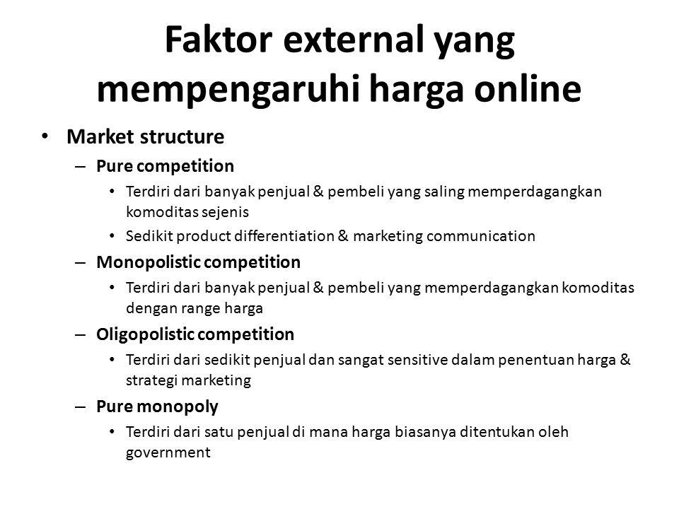 Faktor external yang mempengaruhi harga online Market structure – Pure competition Terdiri dari banyak penjual & pembeli yang saling memperdagangkan k
