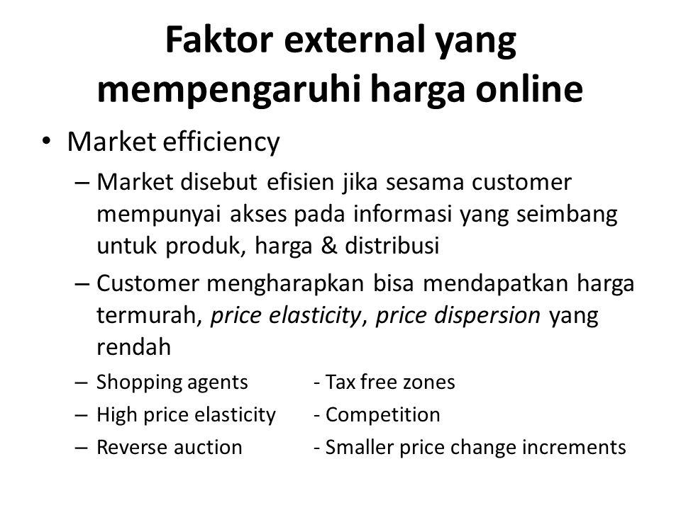 Faktor external yang mempengaruhi harga online Market efficiency – Market disebut efisien jika sesama customer mempunyai akses pada informasi yang sei