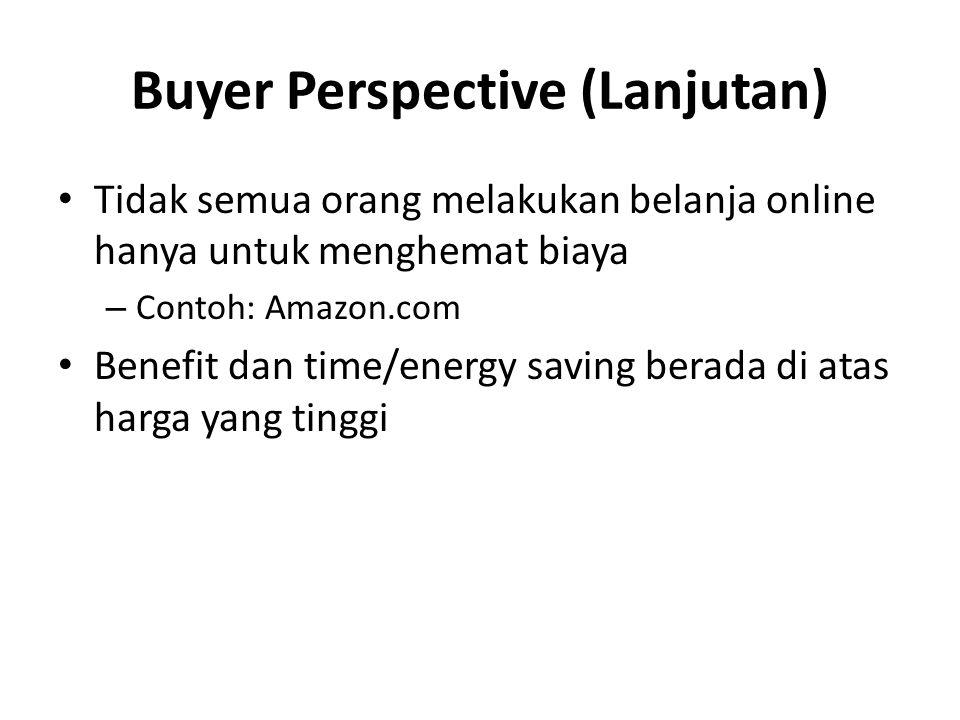 Buyer Perspective (Lanjutan) Tidak semua orang melakukan belanja online hanya untuk menghemat biaya – Contoh: Amazon.com Benefit dan time/energy savin