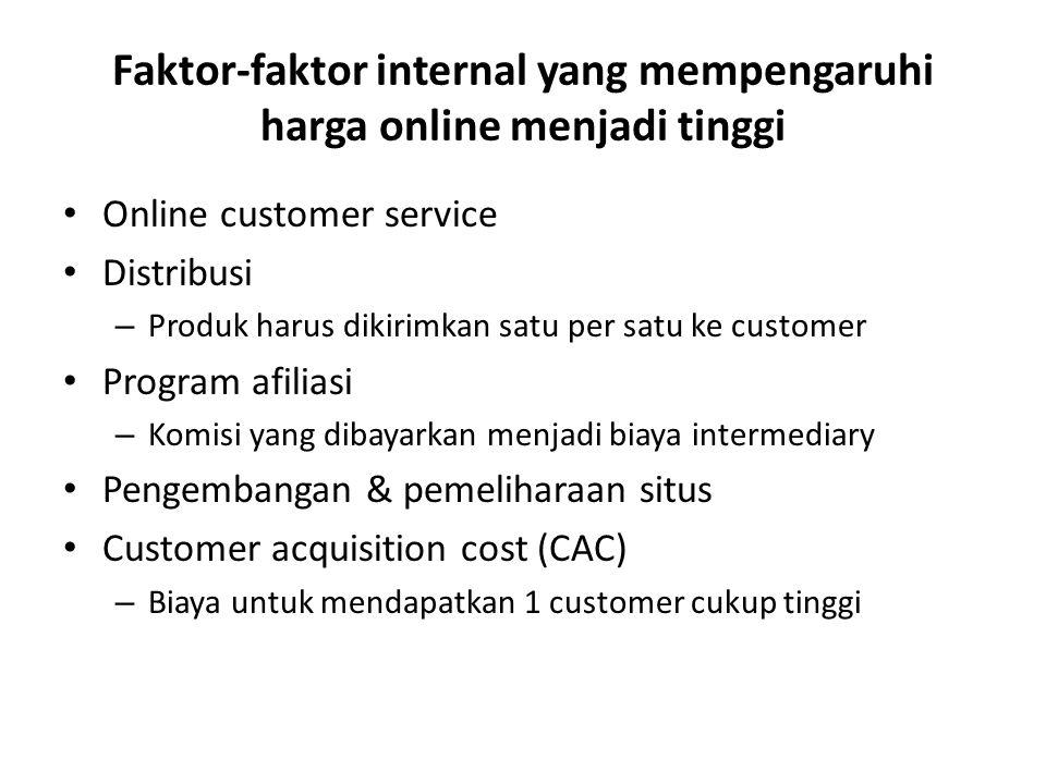 Faktor-faktor internal yang mempengaruhi harga online menjadi tinggi Online customer service Distribusi – Produk harus dikirimkan satu per satu ke cus