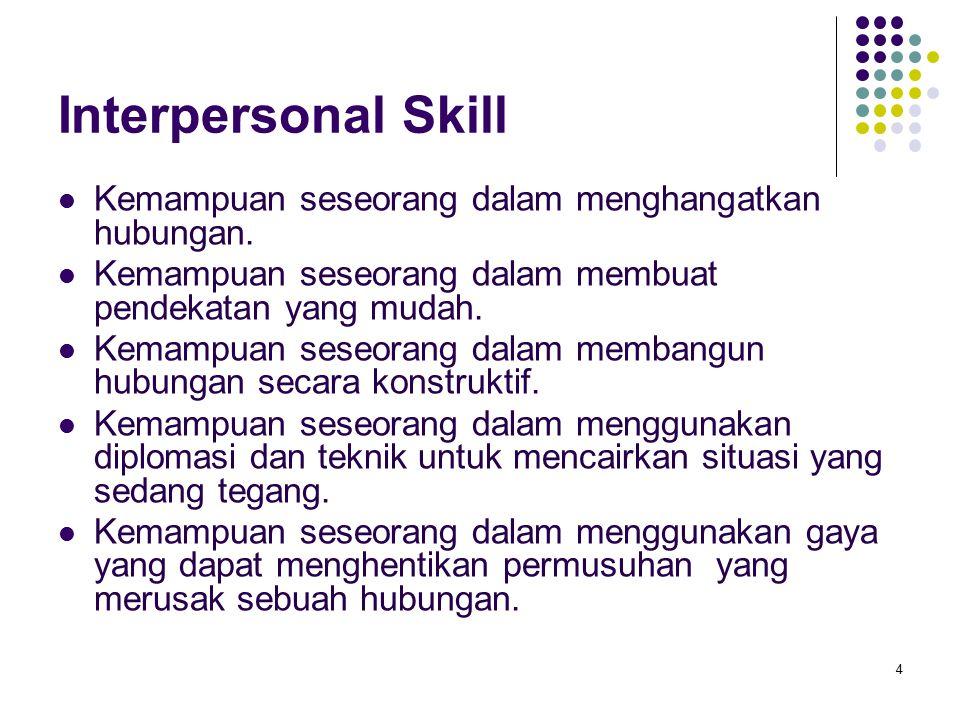 Interpersonal Skill Kemampuan seseorang dalam menghangatkan hubungan. Kemampuan seseorang dalam membuat pendekatan yang mudah. Kemampuan seseorang dal