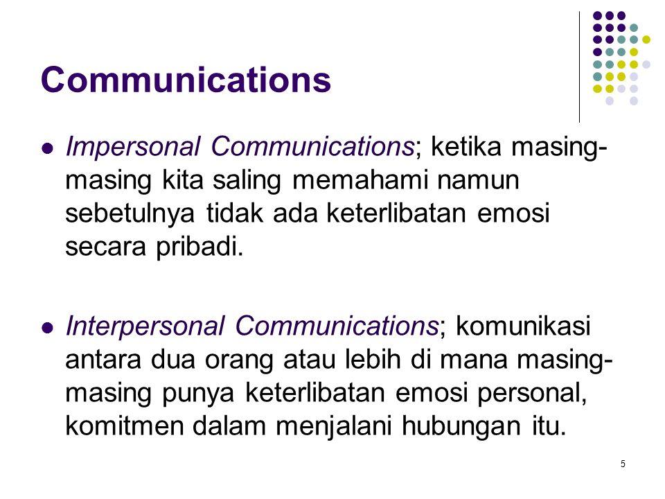 Communications Impersonal Communications; ketika masing- masing kita saling memahami namun sebetulnya tidak ada keterlibatan emosi secara pribadi.