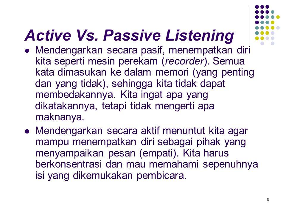 8 Active Vs. Passive Listening Mendengarkan secara pasif, menempatkan diri kita seperti mesin perekam (recorder). Semua kata dimasukan ke dalam memori