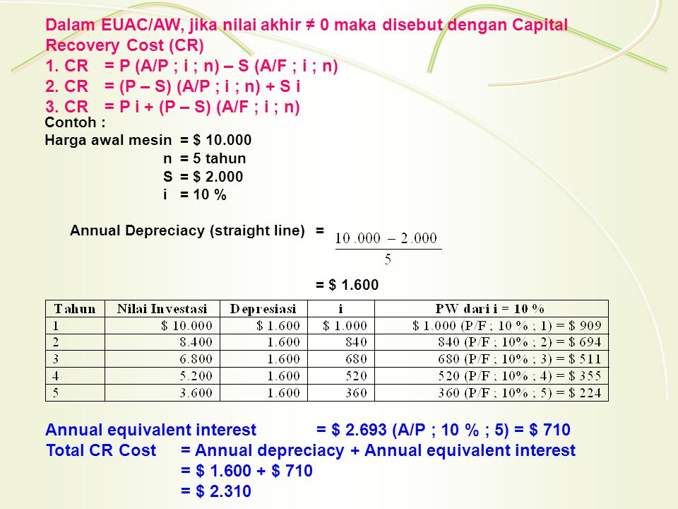 Rumus1 CR= $ 10.000 (A/P ; 10 % ; 5) - $ 2.000 (A/F ; 10 % ; 5) = $ 10.000 (0,2638) - $ 2.000 (0,1638) = $ 2.310 Rumus 2 CR= (P – S) (A/P ; i ; n) + S i = ($ 10.000 - $ 2.000) (A/P ; 10 % ; 5) + 2.000 (10 %) = $ 8.000 (0,2638) + $ 2.000 (0,10) = $ 2.310 Rumus 3 CR= P i + (P – S) (A/F ; i ; n) = $ 10.000 (10%) + ($ 10.000 - $ 2.000) (A/F ; 10 % ; 5) = $ 1.000 + $ 8.000 (0,1638) = $ 2.310 Contoh Soal : i = 8 %