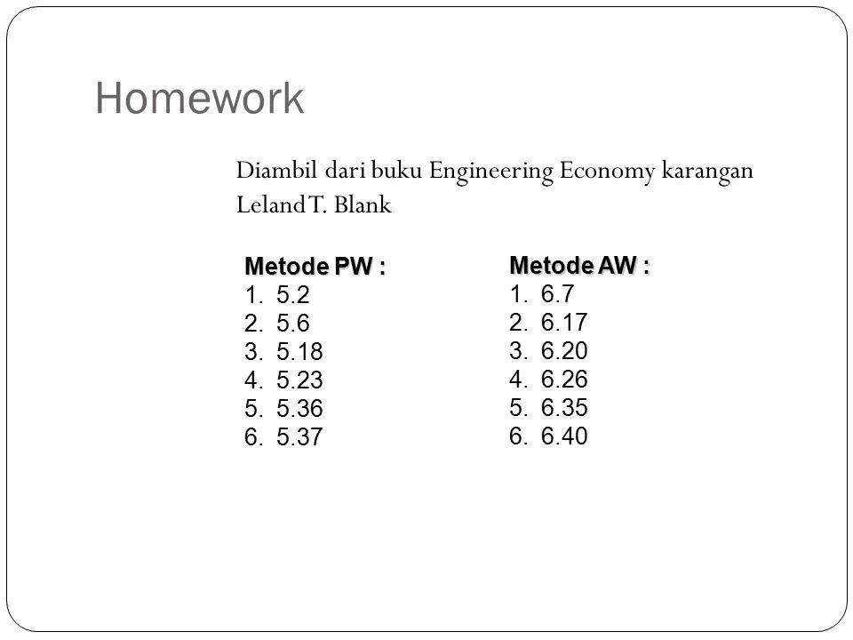 Homework Diambil dari buku Engineering Economy karangan Leland T.