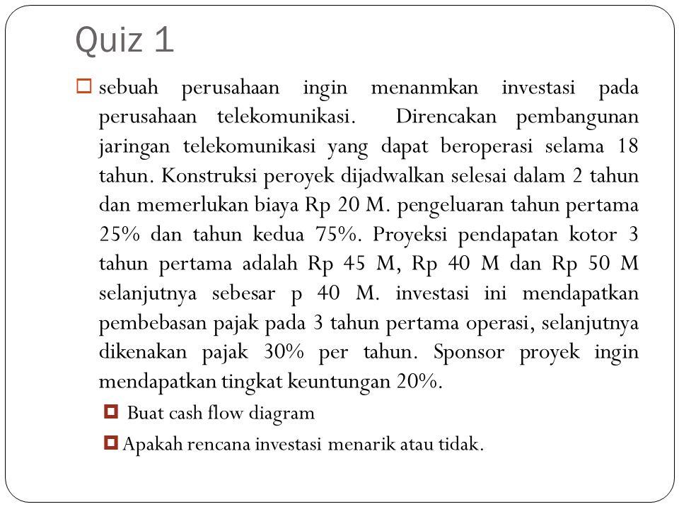 Quiz 1  sebuah perusahaan ingin menanmkan investasi pada perusahaan telekomunikasi.